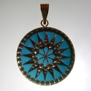 Sun pendant Ø approx 34 mm, turquoise 519 / old gold