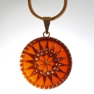 Sun pendant Ø approx 34 mm, orange 696 / old gold, with snake chain, gold, lobster clasp