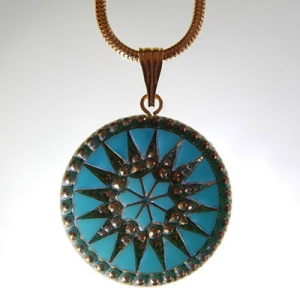 Sun pendant Ø approx 34 mm, turquoise 519 / old gold, with snake chain, gold, lobster clasp