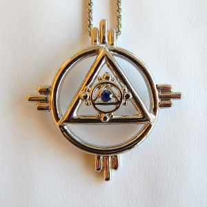 Pendant Solar symbol, silver plated (palladium), with chain