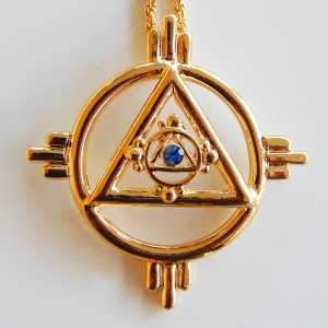 Pendant Solar symbol, gold plated, with chain overall diameter approx. 47 mm