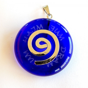 Chain pendant with healmantra, movable silver plated loop, safir-blue