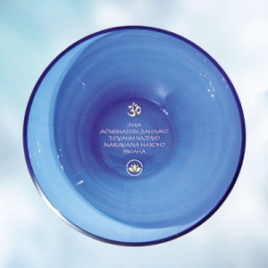 Blue glass bowl with water mantra, Diameter approx. 27 cm