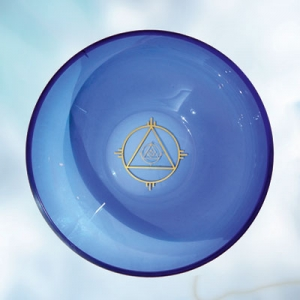 Blue glass bowl with symbol of solar lines, Diameter approx. 27 cm